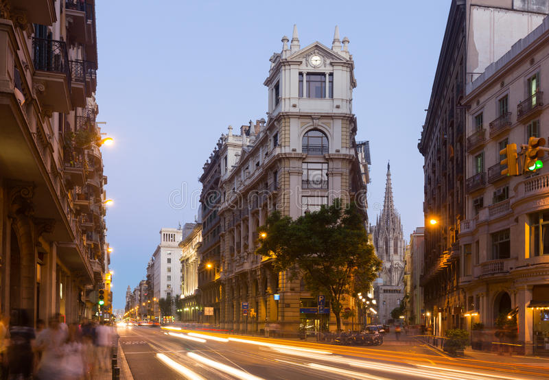 View of Barcelona in twilight time. Spain. Via Laietana royalty free stock images