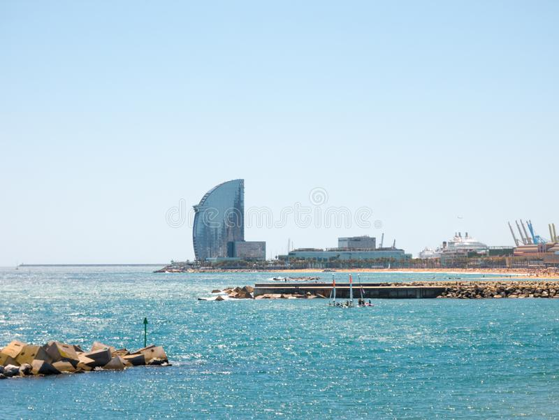 View of Barceloneta Beach in summer in Barcelona. It is one of the most popular beach in Europe royalty free stock photos