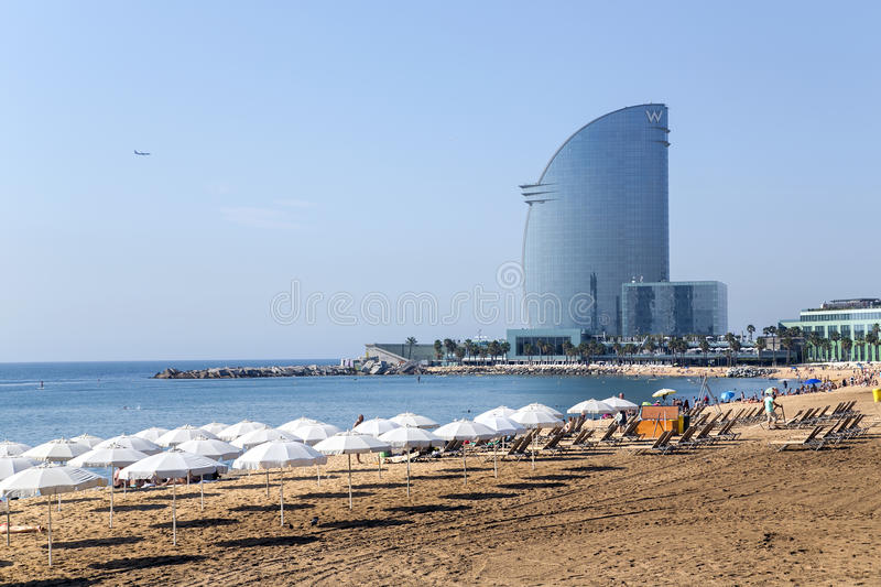 View of Barceloneta beach stock photography