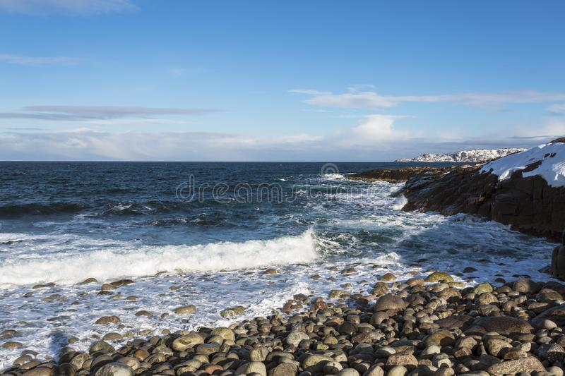 View of the Barents sea on a Sunny winter day, Murmansk region, stock images