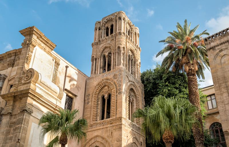 View of the baroque facade with the Romanesque belltower of Santa Maria dell`Ammiraglio Church known as Martorana Church, Palermo stock photography