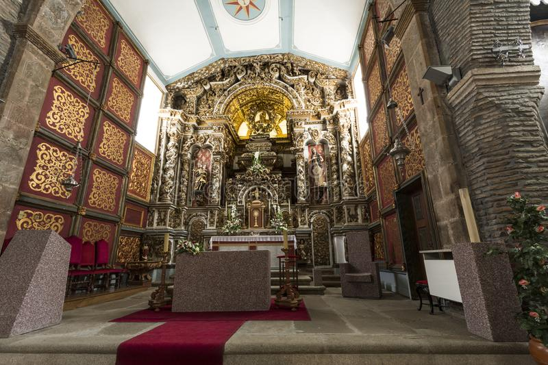 Braganca Saint Mary Church. View of the Baroque high altar of late seventeenth century of St Mary Church in the citadel of Braganca, Portugal royalty free stock photography