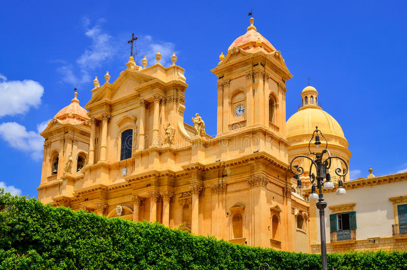 View of baroque style cathedral in old town Noto, Sicily stock photography