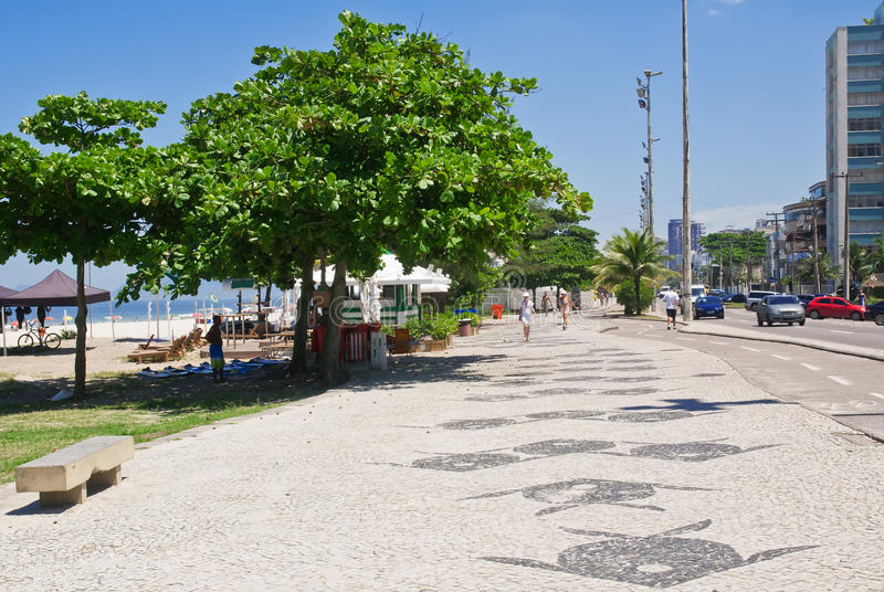 View of Barra da Tijuca beach with palms and mosaic of sidewalk. In Rio de Janeiro. Brazil stock image