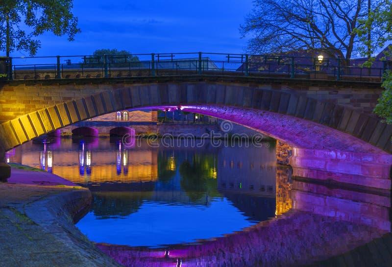 Barrage Vauban bridge. View on Barrage Vauban at night. Strasbourg, France royalty free stock images