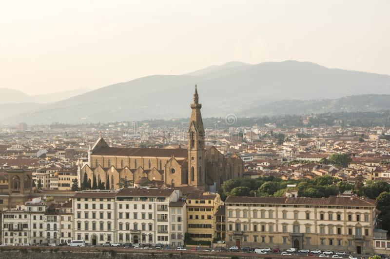 View of the Basilica di Santa Croce Holy Cross is the main Franciscan church in Florence. Aerial view from Piazzale Michelangelo stock photo