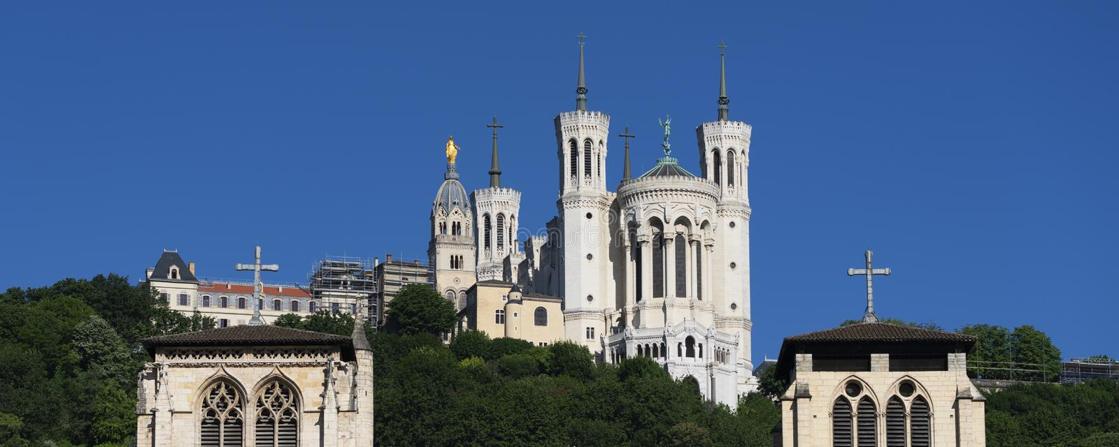 View of Basilica of Notre Dame de Fourviere and Saint-Jean cathedral royalty free stock photos