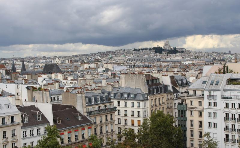 View of Basilica of the Sacre Coeur on a cloudy day. Montmartre, Paris, France. stock images