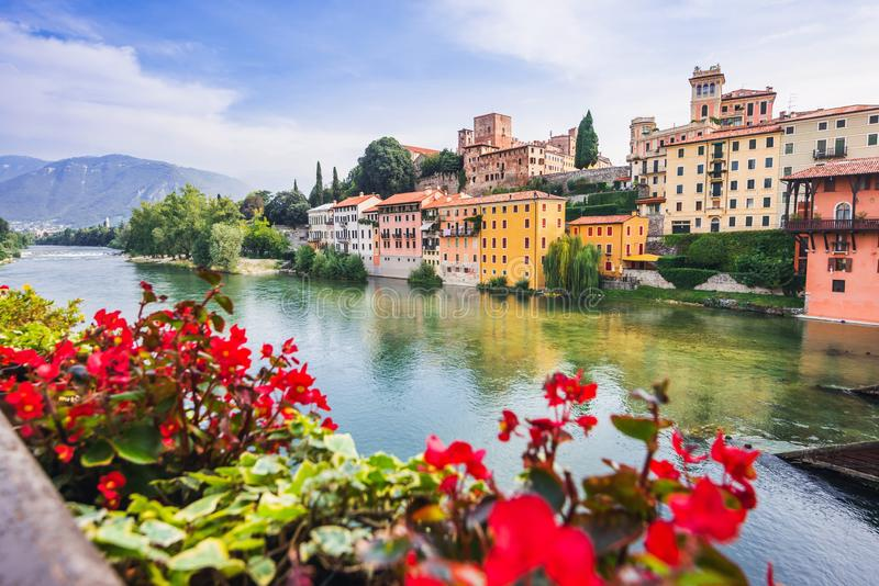 View of Bassano del Grappa, Veneto region, Italy. Popular travel destination. View of Bassano del Grappa with flowers, Veneto region, Italy. Popular travel stock image