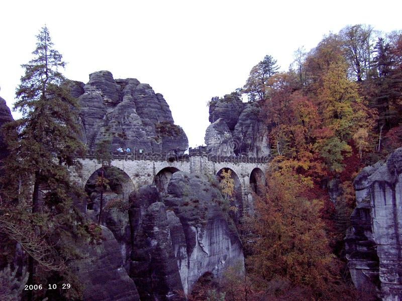 View on the Bastei bridge stock photography