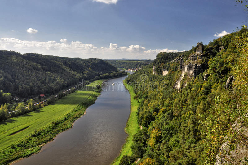 View from the Bastei on the river Elbe royalty free stock photos