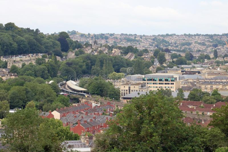 Distant view over Bath to railway station and train royalty free stock photo