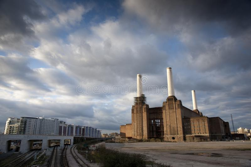 View of Battersea Power Station before major redevelopment, Battersea, London, UK - March 2013. A View of Battersea Power Station before major redevelopment royalty free stock photos