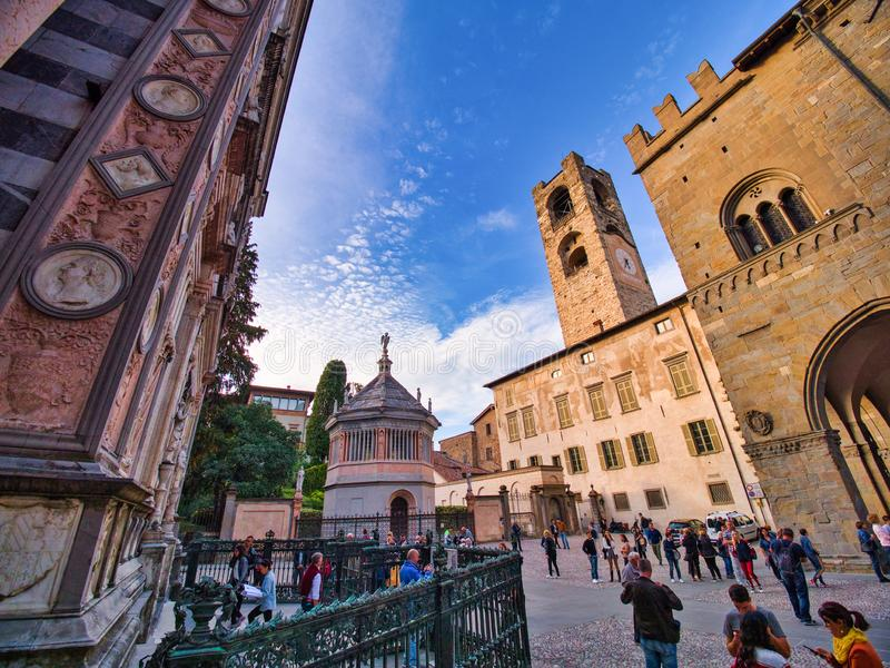 View of the Battistero, campanone tower and a side of the Basilica of Santa Maria Maggiore from the square of Father Reginaldo. Bergamo, Lombardy, Italy royalty free stock photos