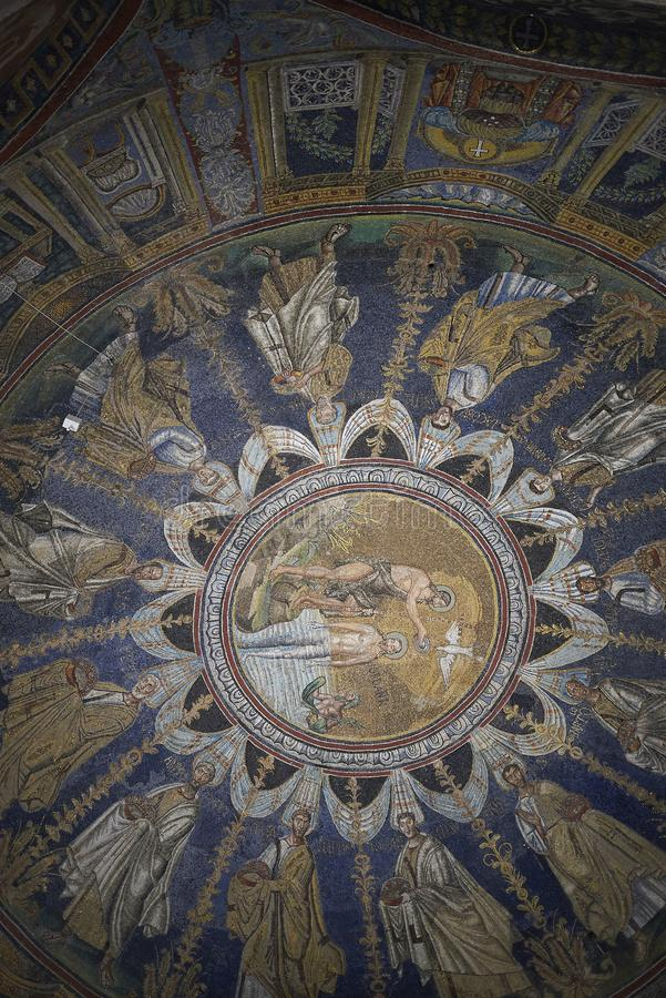 View of Battistero Neoniano ceiling. Ravenna, Italy - August 14, 2019 : View of Battistero Neoniano ceiling royalty free stock images