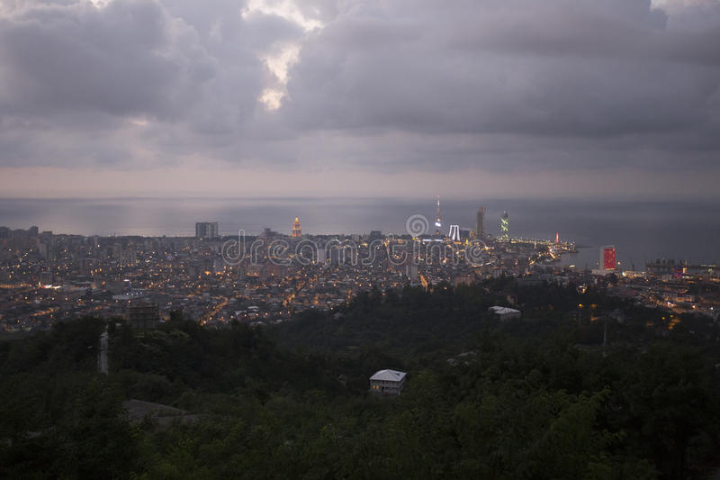 View on Batumi, Georgia at Twilight. Batumi, Georgia – September 14, 2015: View on city stock photo