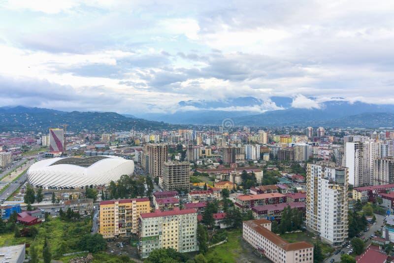 View of Batumi and new football stadium stock photos