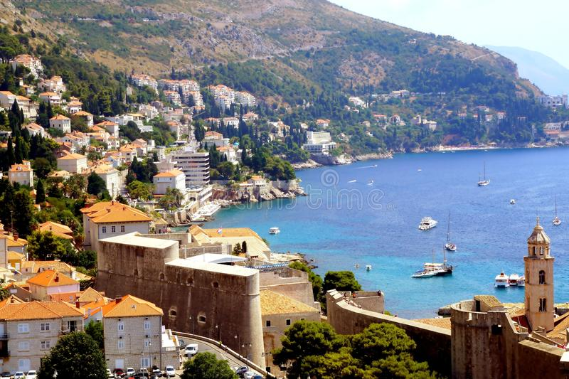 The view of the bay of Dubrovnik, Croatia. It is nice to use the opportunity too enjoy gorgeous view of the sea bay and old city of Dubrovnik including part of stock photos