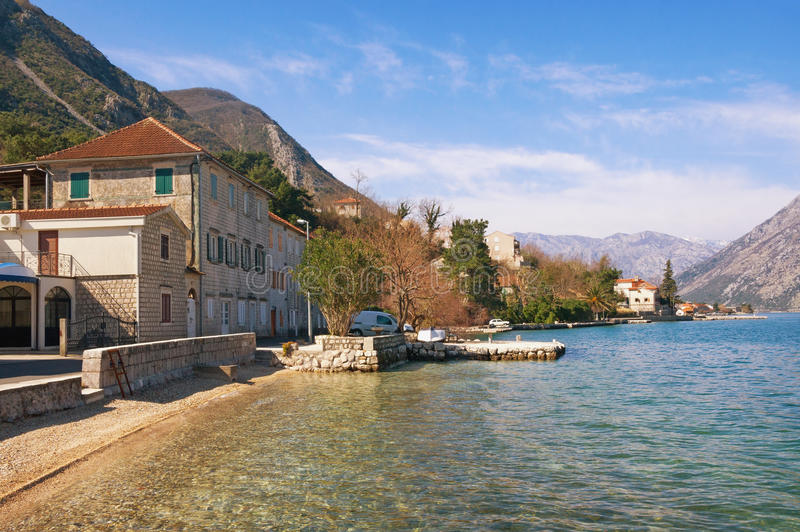 View of Bay of Kotor and seaside town. Montenegro royalty free stock photography