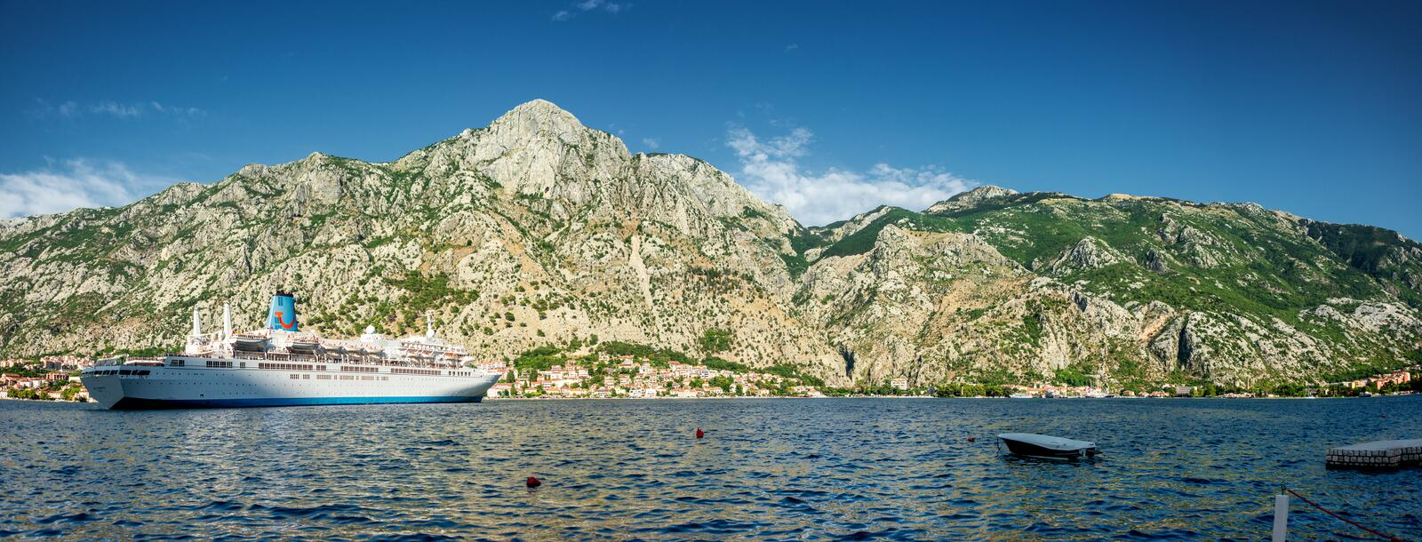 View of the Bay of Kotor with The small islands of Ostrvo and Sveti Juraj monastery stock photography