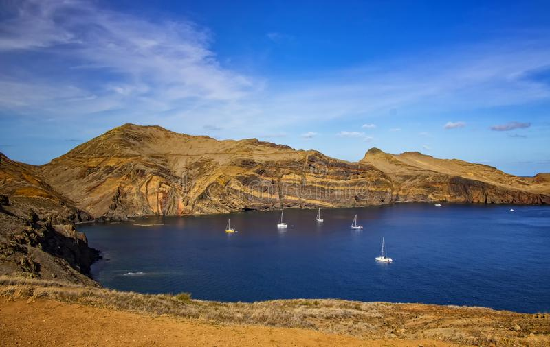 View of the bay in Ponta de Sao Lourenco, the island of Madeira, Portugal. There are rocky cliffs and clear water of the Atlantic royalty free stock photography