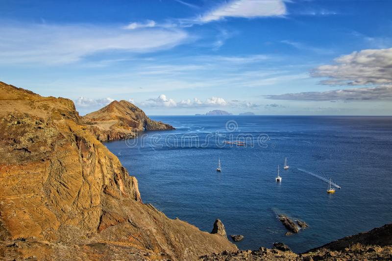 View of the bay in Ponta de Sao Lourenco, the island of Madeira, Portugal. There are rocky cliffs and clear water of the Atlantic royalty free stock images