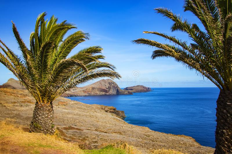 View of the bay in Ponta de Sao Lourenco, the island of Madeira, Portugal. There are rocky cliffs with palms and clear water stock photo