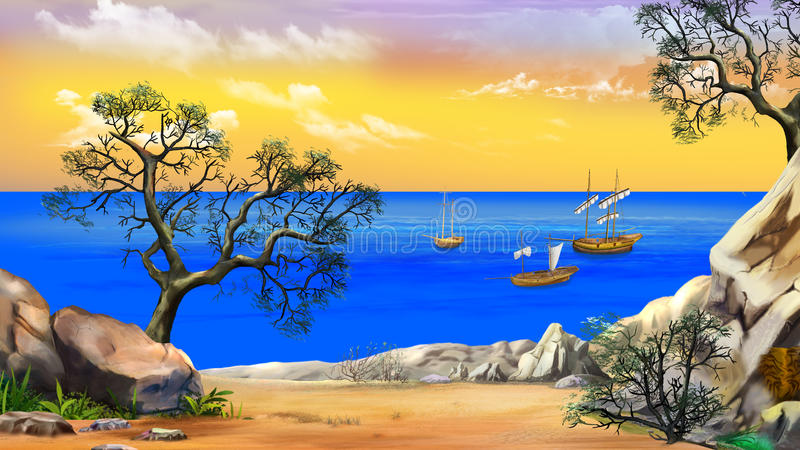 View of the Bay with Sailboats Against Yellow Sky at Dawn royalty free illustration