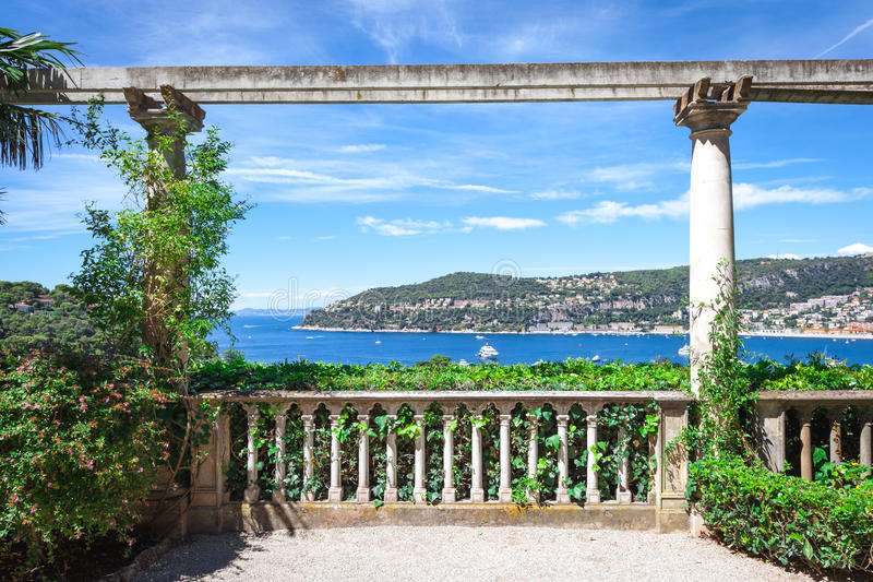 The view of the bay of villefranche-sur-mer royalty free stock photography