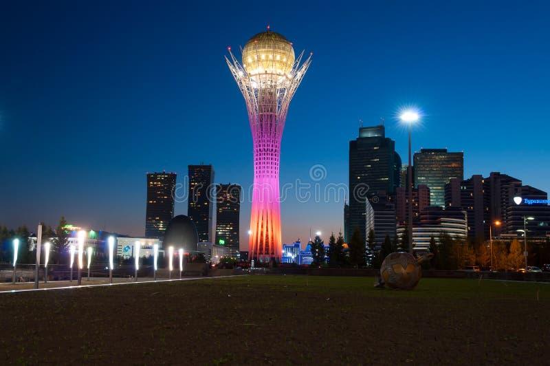 View of Bayterek at night. Astana stock image