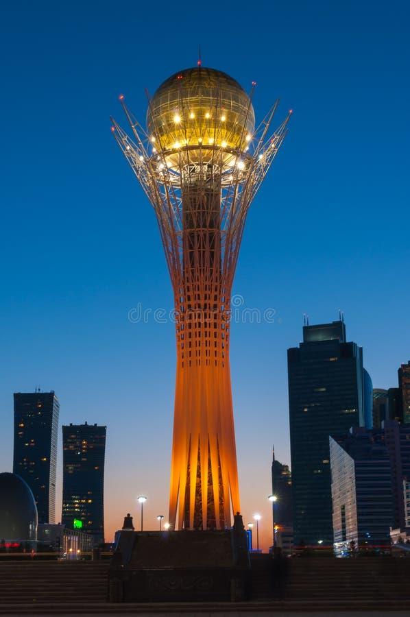 View of Bayterek at night. Astana stock images