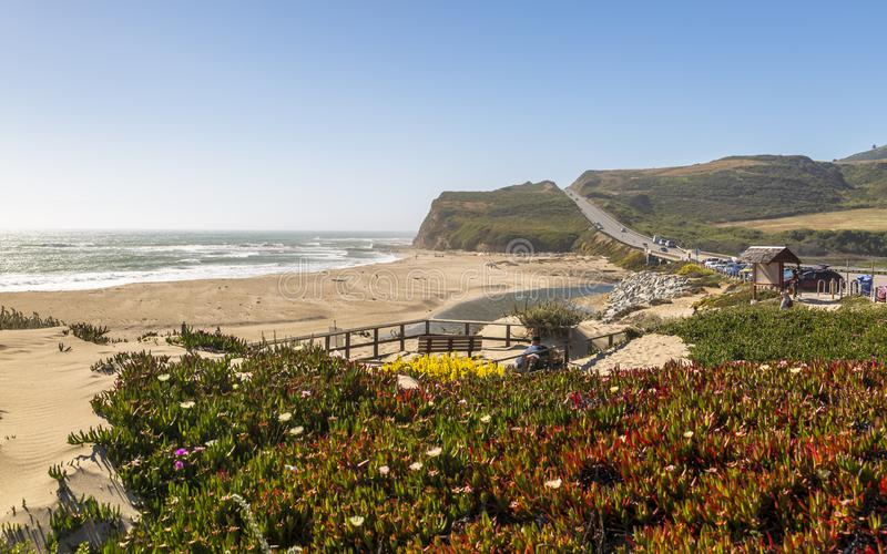 View of beach and cliffs on Highway 1 near Davenport, California, United States of America, North America. Santa Cruz, USA - June 2 2018: View of beach and stock image
