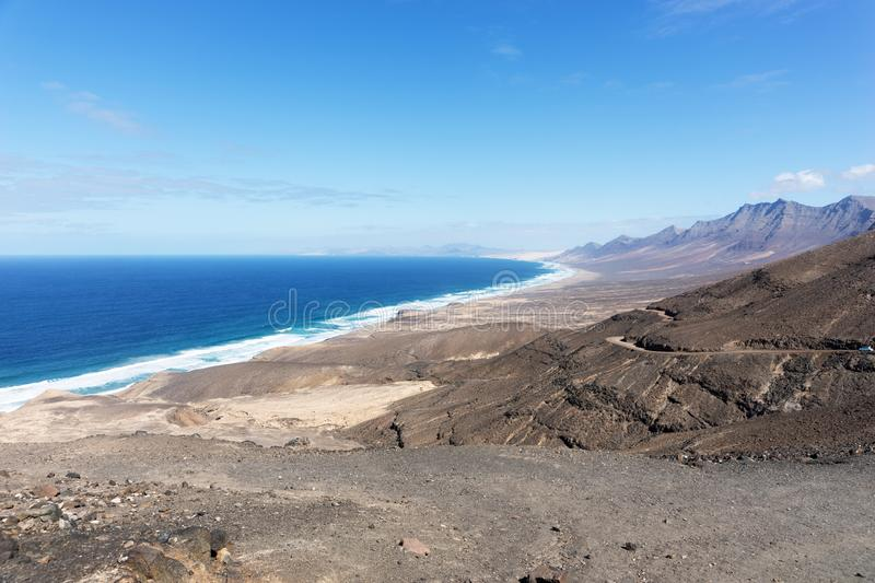 View of the beach of Cofete. Fuerteventura, Canary Islands, Spain stock photo