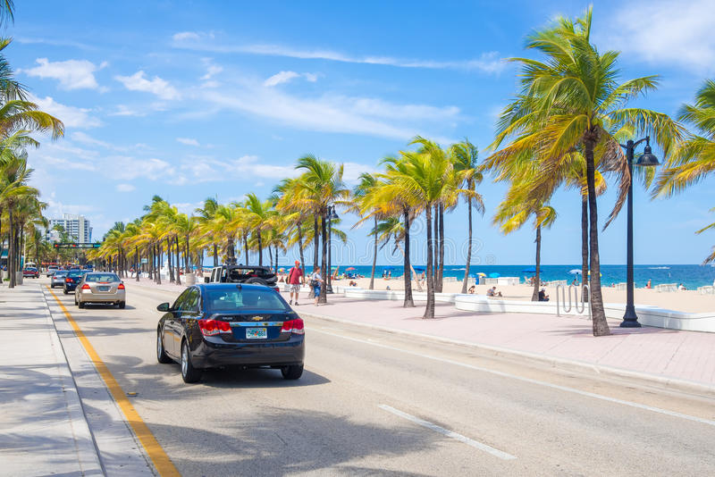 View of the beach at Fort Lauderdale in Florida. FORT LAUDERDALE,USA - AUGUST 11,2015 : View of the beach at Fort Lauderdale in Florida on a summer day royalty free stock photography