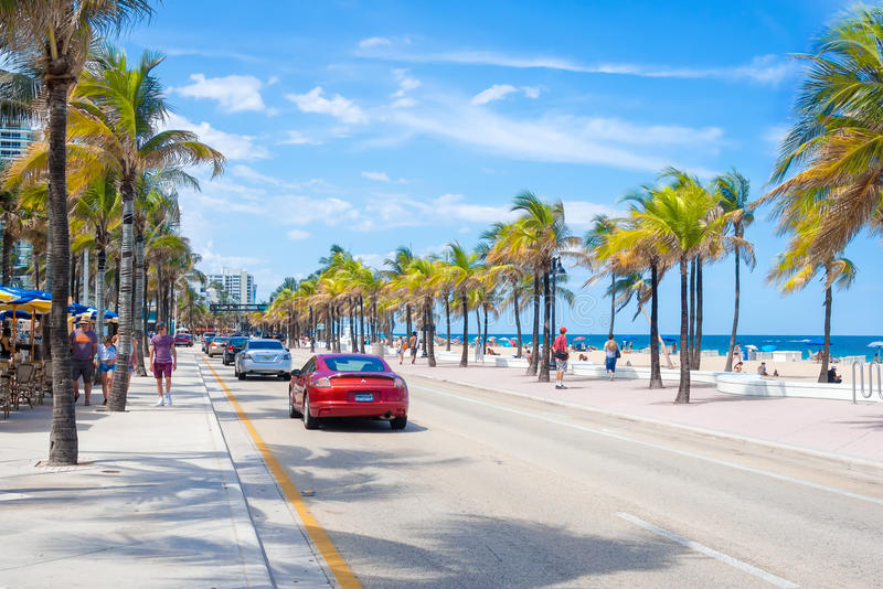 View of the beach at Fort Lauderdale in Florida. FORT LAUDERDALE,USA - AUGUST 11,2015 : View of the beach at Fort Lauderdale in Florida on a summer day royalty free stock images