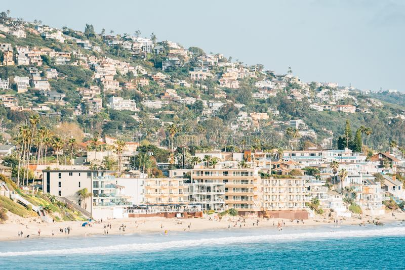 View of the beach and hills from Heisler Park, in Laguna Beach, Orange County, California royalty free stock image