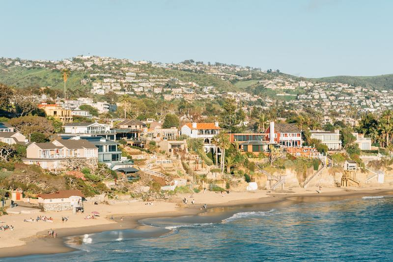 View of beach, houses and hills from Crescent Bay Point Park, in Laguna Beach, Orange County, California.  stock photography