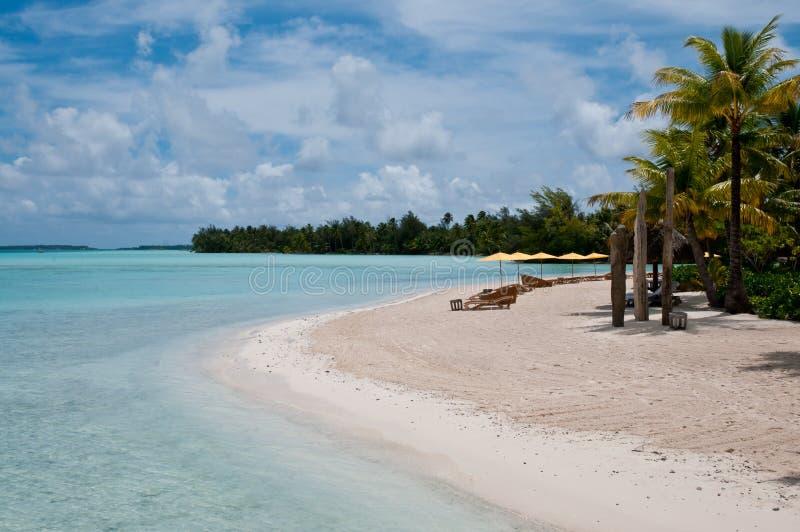 View On The Beach Within An Lagoon In Bora Bora Royalty Free Stock Photos