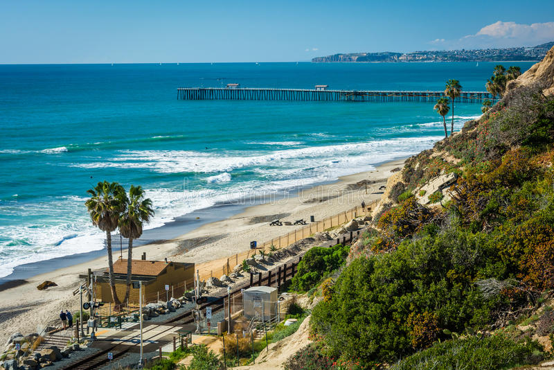View of the beach and pier in San Clemente, California. stock photography