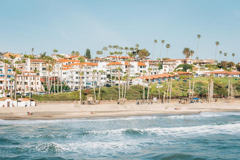 View of the beach from the pier in San Clemente, Orange County, California.  royalty free stock photos