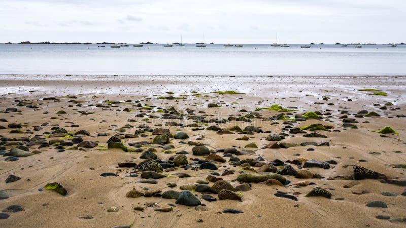 View of beach Plage de la Baie de Launay. Travel to France- view of beach Plage de la Baie de Launay in Ploubazlanec commune in the Cotes-d'Armor department in stock photography