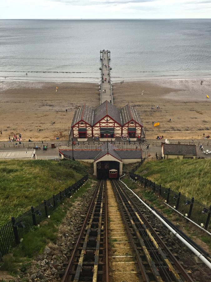 View from Funicular Railway at Saltburn by the Sea stock photo