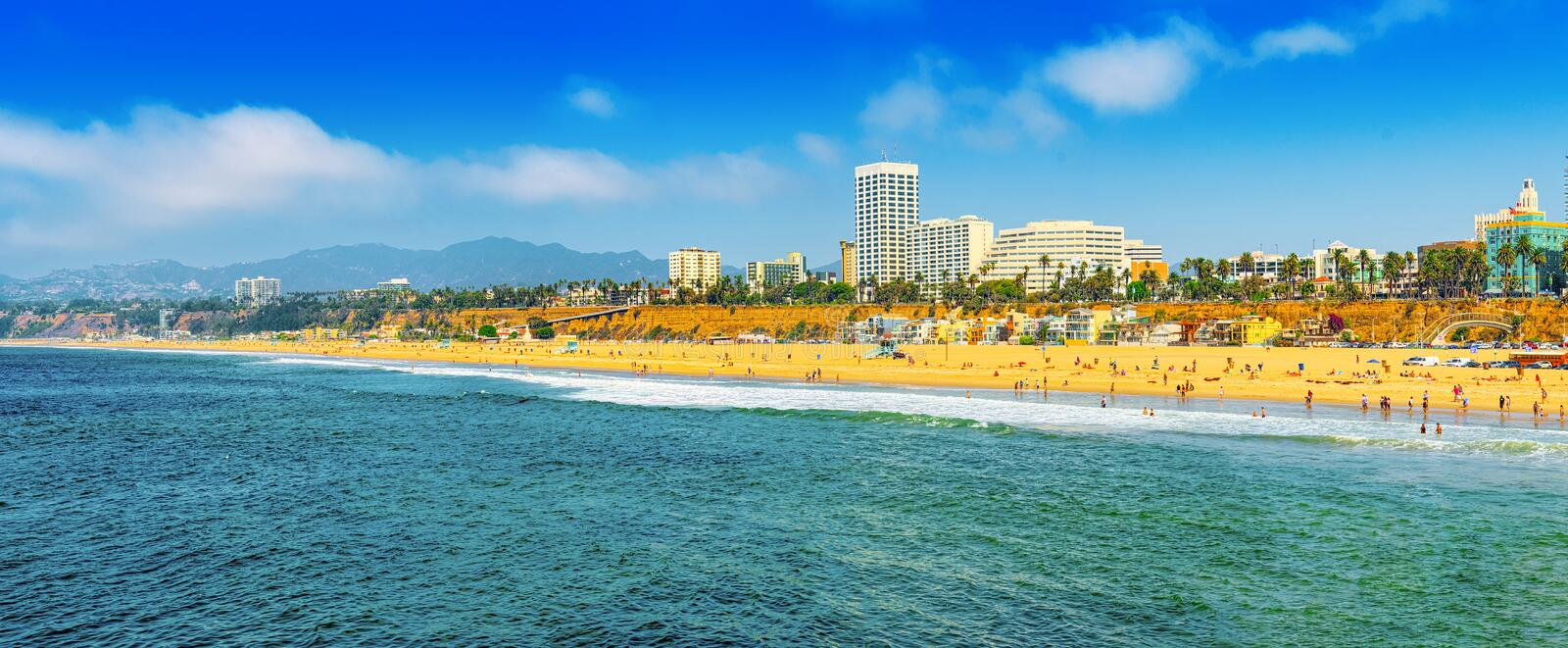View of the beach of Santa Monica and the Pacific Ocean. Suburbs of Los Angeles. California stock images