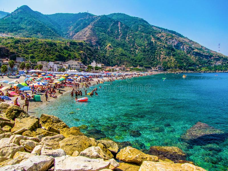 View of the beach in Scilla, Calabria, Italy stock images