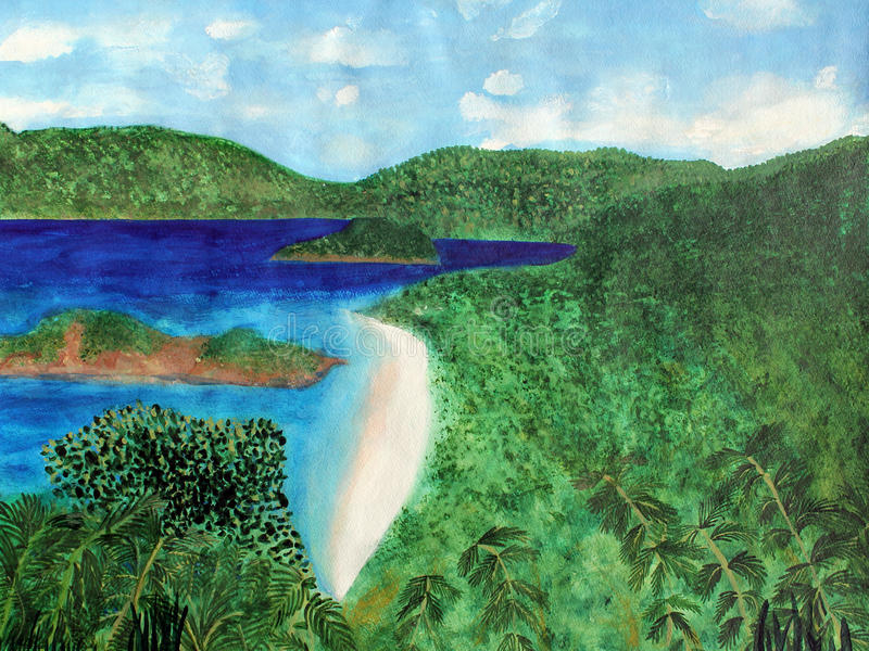 View of beach in St John, US Virgin Islands. Watercolor art painting of a view of the beach from overlook on St. John in the US Virgin Islands. The tropical vector illustration