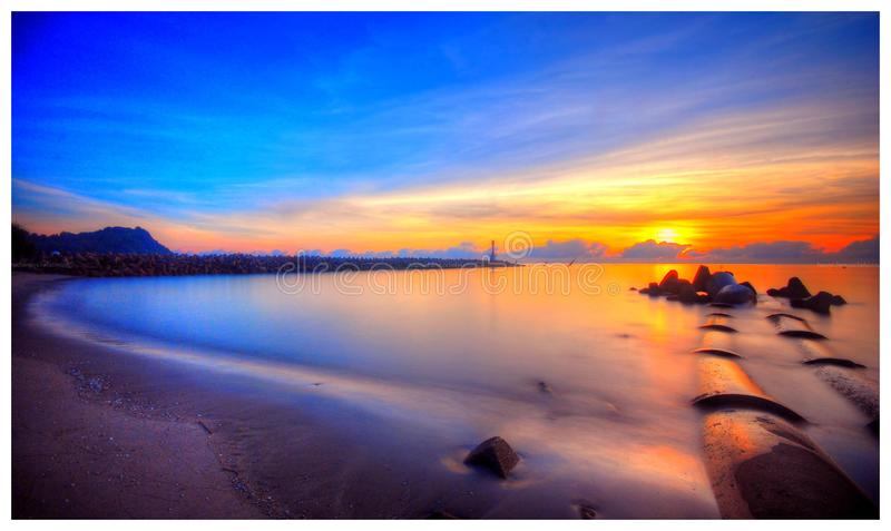 View at the beach during sunrise royalty free stock photos