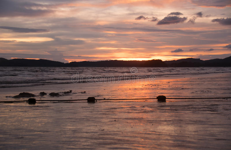 View beach and sunset in evening time warm style royalty free stock photo