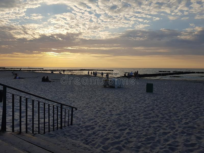 View of the beach after sunset royalty free stock photography