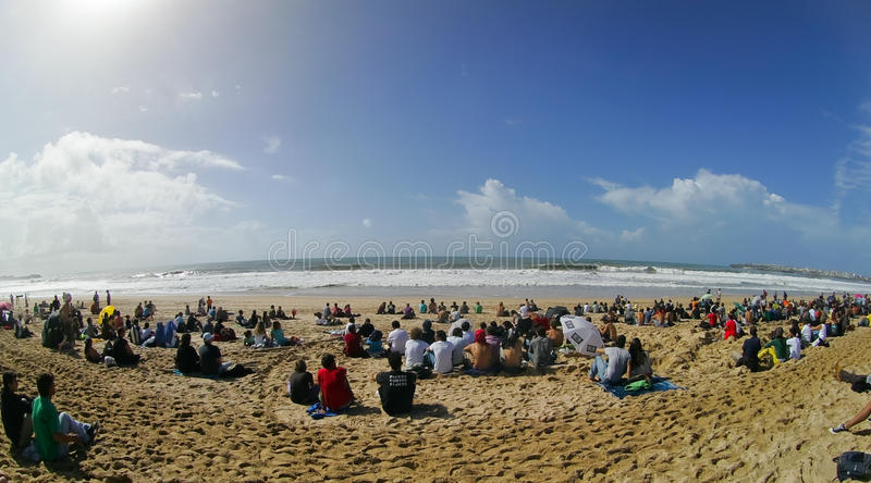 View of beach of Supertubos in Rip Curl Pro 2010. PENICHE, PORTUGAL - OCTOBER 10 : View of beach of Supertubos in Rip Curl Pro 2010 round 1 October 10, 2010 in royalty free stock photos