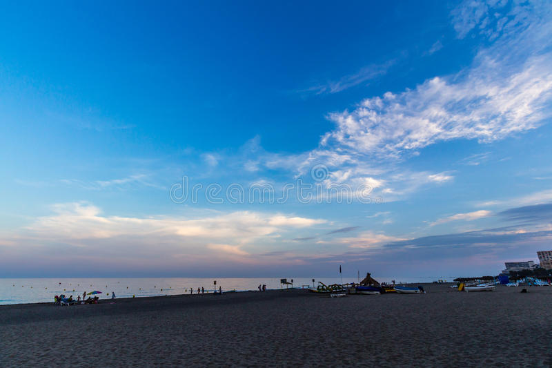 View of Beach in Torremolinos in evening royalty free stock images